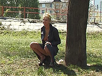 Pleasant exciting teen girl outdoor piss.
