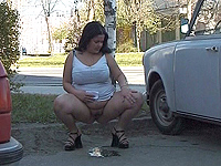 Incredible hot curvy outdoor urine.